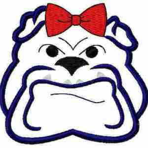 Bulldog with bow embroidery design