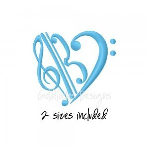 Treble Alto Bass Clef Machine Embroidery Pattern