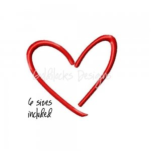 Sketch Heart Embroidery Design for Machine Embroidery Digital File