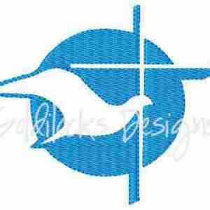 Dove and Cross Christian Religious Embroidery Design
