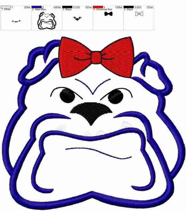 Bulldog female with center bow embroidery design