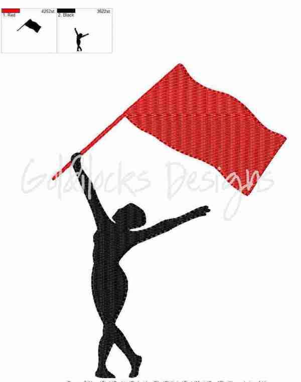 Flag twirler color guard embroidery design