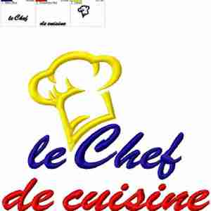 Le chef de cuisine embroidery design
