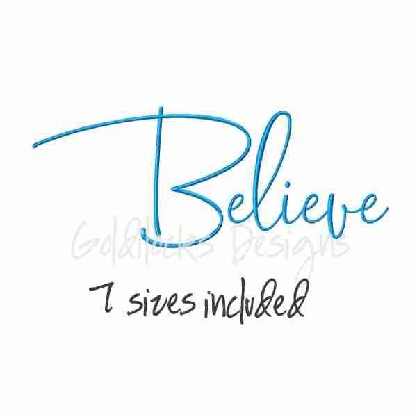 Believe handwriting script word art embroidery design