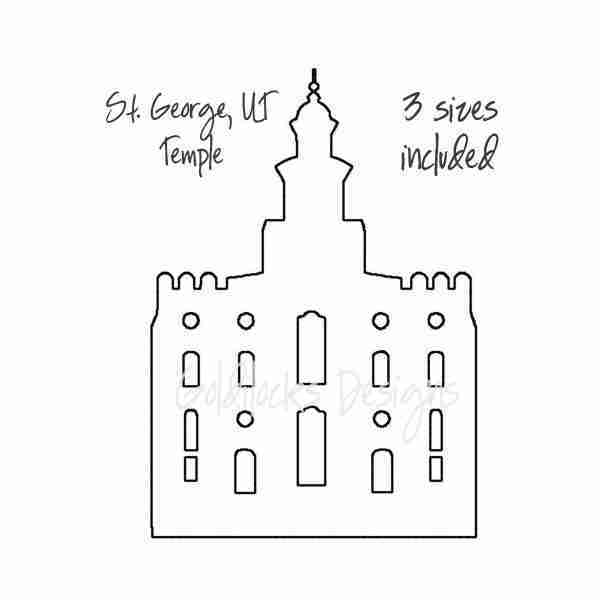 St George LDS Temple sketch embroidery design