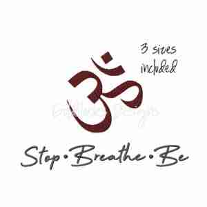 Stop Breathe Be Symbol Yoga phrase embroidery design