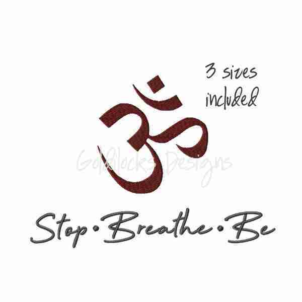 Stop Breathe Be Symbol Yoga phrase embroidery design