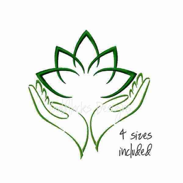 Lotus peaceful embroidery design