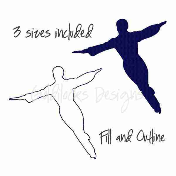 Male ice skater embroidery design