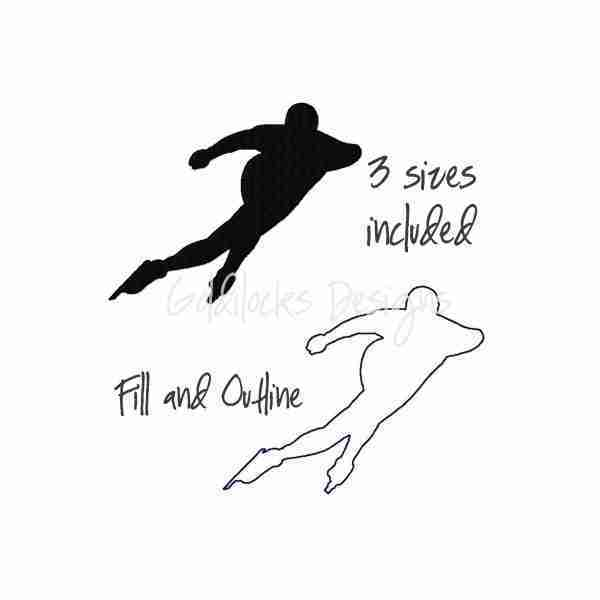 Speed skater ice skater embroidery design