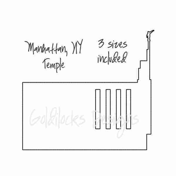 Manhattan NY LDS Temple sketch embroidery design