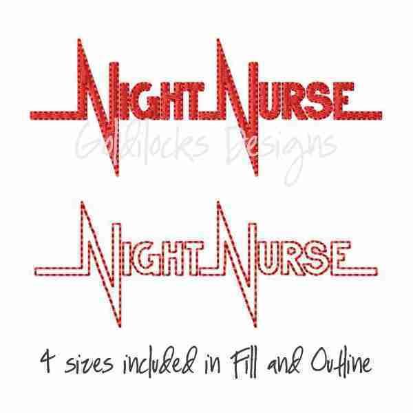 Night Nurse embroidery design