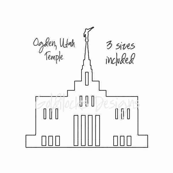 Ogden Utah LDS Temple sketch embroidery design