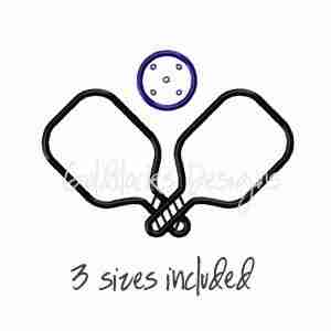 Pickleball paddles and ball embroidery design