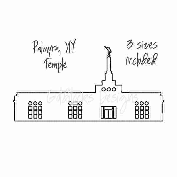 Palmyra NY LDS Temple sketch embroidery design