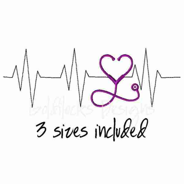 EKG Stethoscope with heart shape Nurse embroidery design