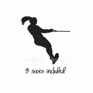 Water skiier skiing female embroidery design