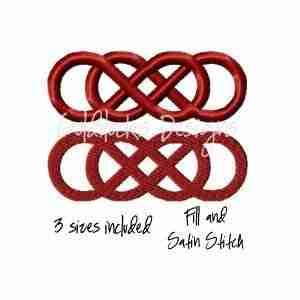 Double infinity wedding embroidery design