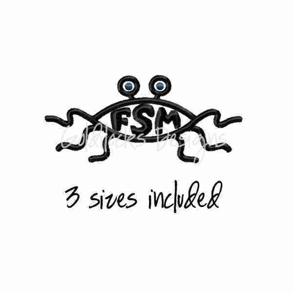 Flying Spaghetti Monster FSM embroidery design
