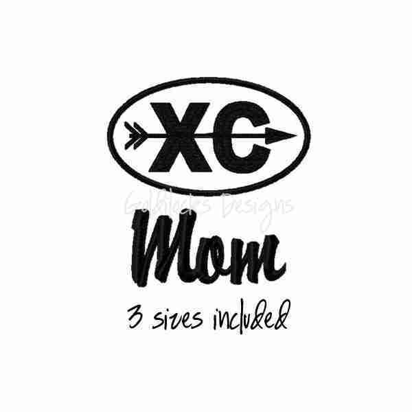Cross Country Mom running runner logo embroidery design
