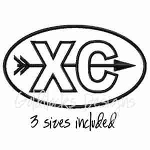 XC running runner logo embroidery design