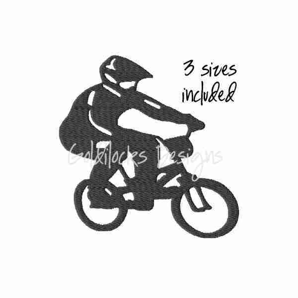 Biker BMX Bicyclist bicyle cycling embroidery design