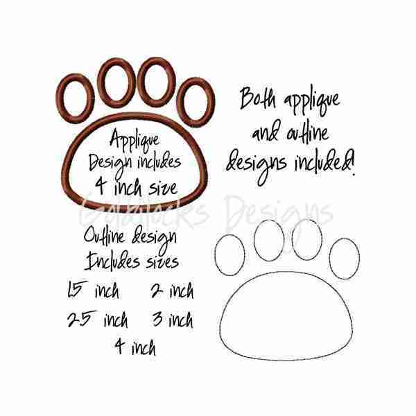 Cat Paw print applique Embroidery Design