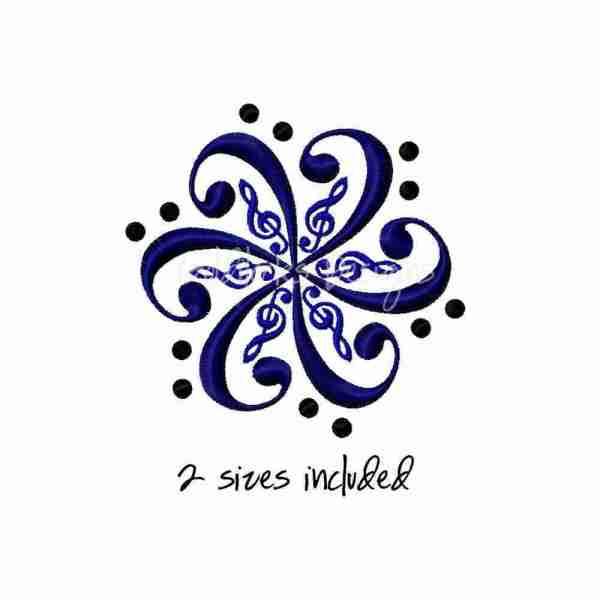 Treble bass clef embroidery design