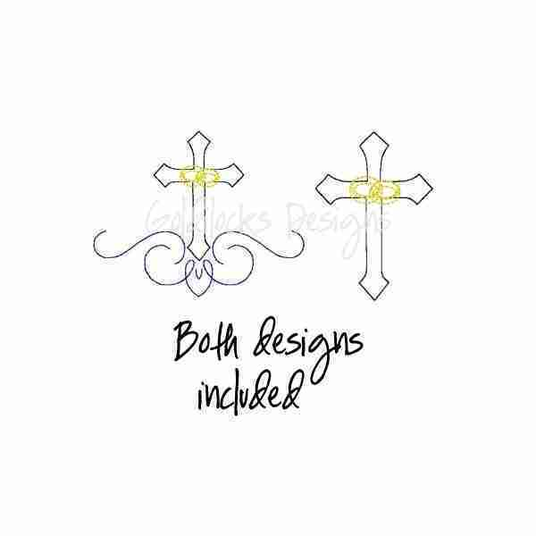 Christian cross with wedding rings embroidery design