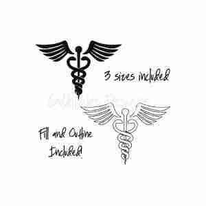 Caduceus Doctor Symbol embroidery design