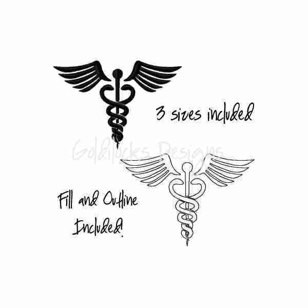 Caduceus Doctor Symbol embroidery design