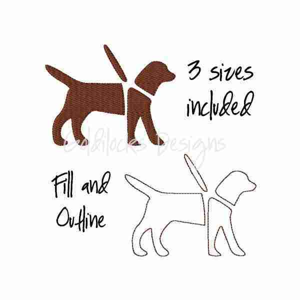 Service guide dog logo embroidery design