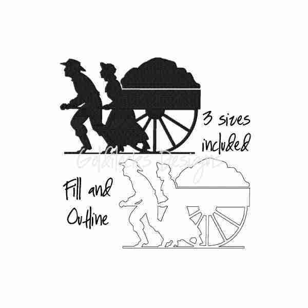 Handcart pioneer trek LDS embroidery design