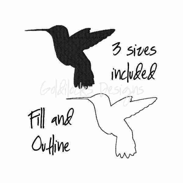 Hummingbird bird embroidery design