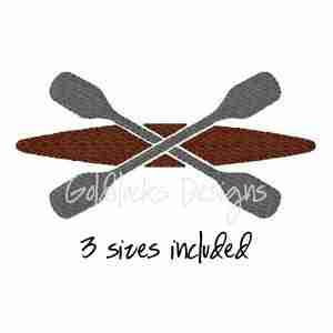 Kayak with crossed oars river rafting embroidery design