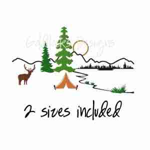 Mountains Camping Outdoors Embroidery Design