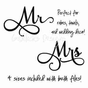 Mr and Mrs calligraphy wedding embroidery design