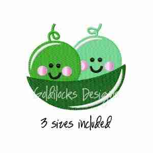 Two peas in a pod Embroidery Design