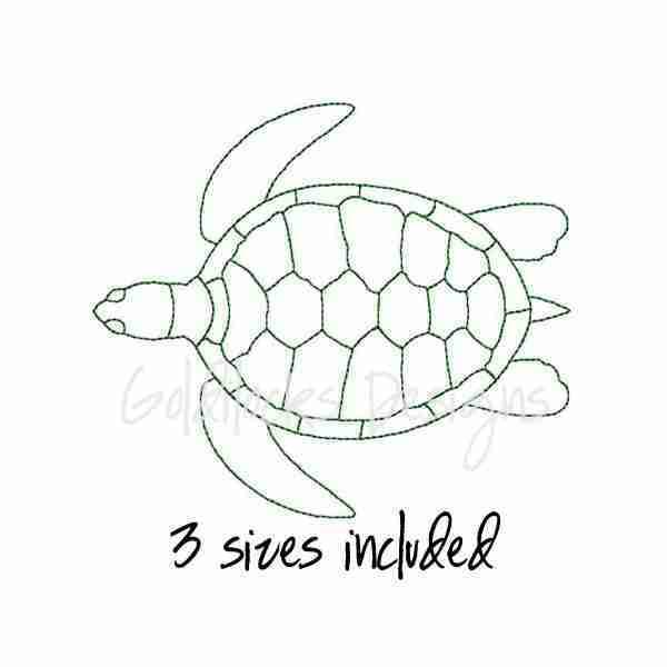 Sea Turtle outline Embroidery Design