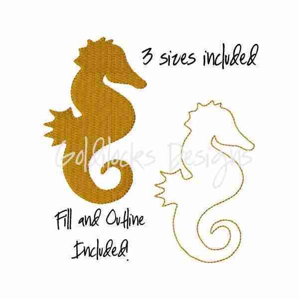 Seahorse ocean life embroidery design