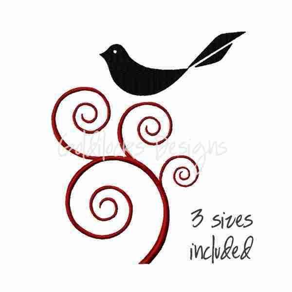 Bird in ornate tree embroidery design