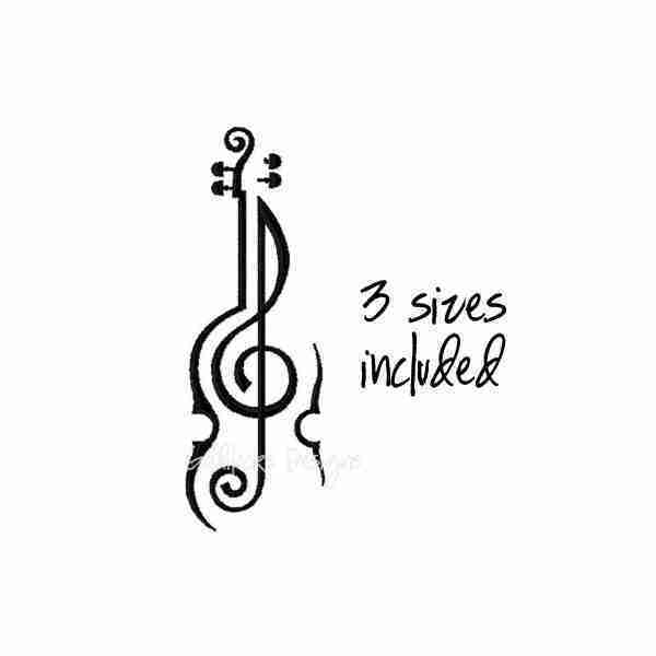 Unique violin viola sketch embroidery design