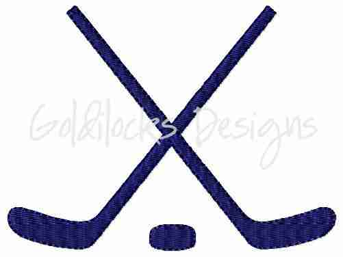 Crossed Hockey Sticks and puck embroidery design