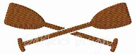 Crossed oars paddles boating canoe rafting embroidery design