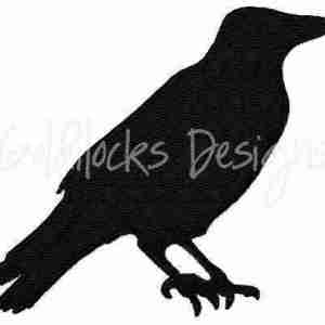 Crow bird silhouette embroidery design