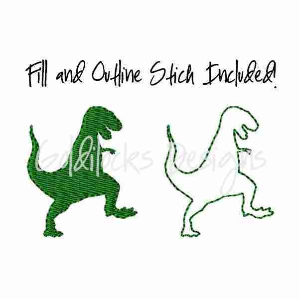Tyrannasouras Rex T Rex Dinosaur Embroidery Design