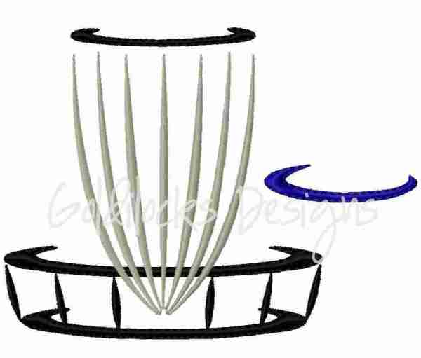 Disc golf frisbee basket embroidery design