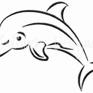 Dolphin sketch jumping Embroidery Design