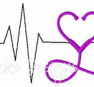 EKG Stethoscope with heart shape Nurse embroidery design