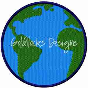 World Earth Globe embroidery design